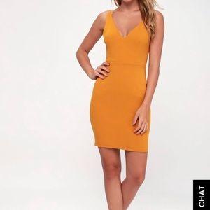 Lulus Embrace The Night Mustard Bodycon Mini Dress